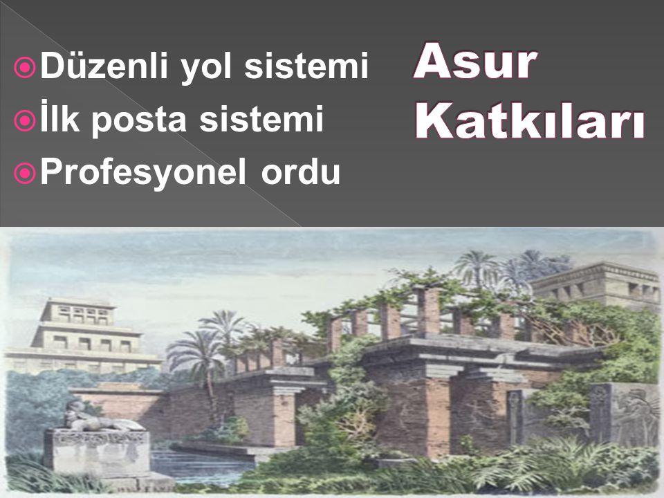 Asur Katkıları Düzenli yol sistemi İlk posta sistemi Profesyonel ordu