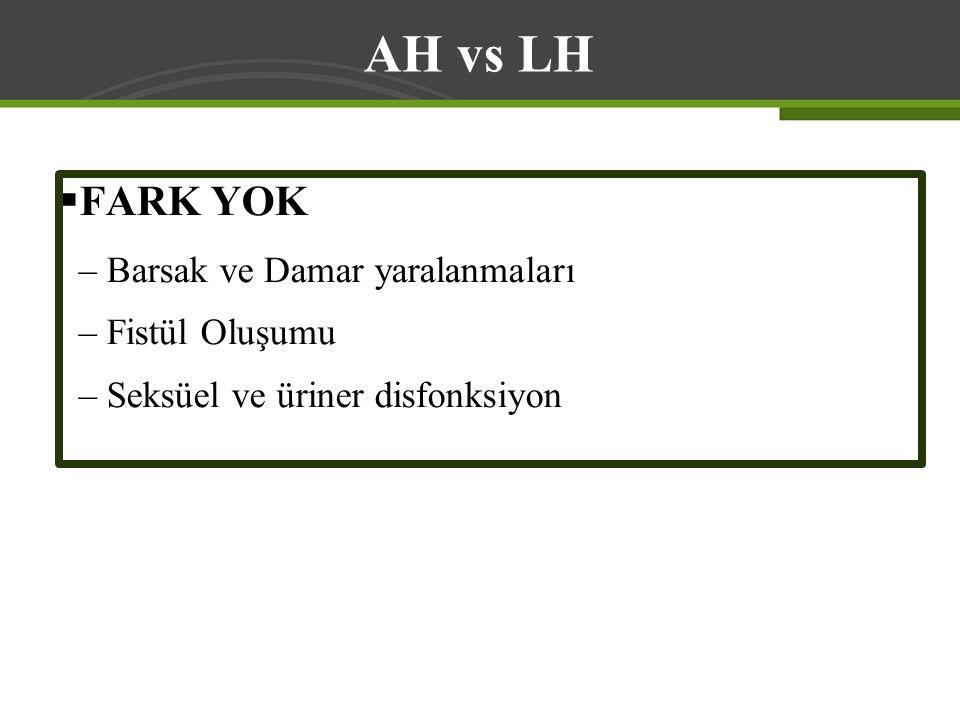 AH vs LH FARK YOK Barsak ve Damar yaralanmaları Fistül Oluşumu