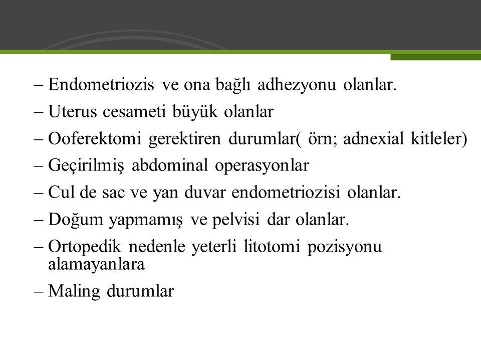 Endometriozis ve ona bağlı adhezyonu olanlar.