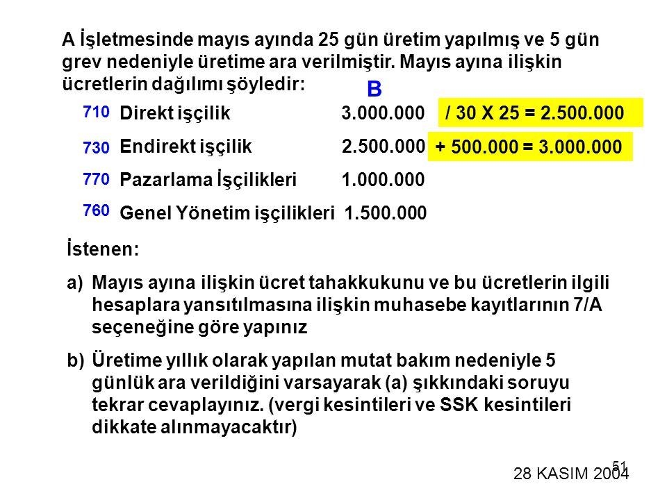 A İşletmesinde mayıs ayında 25 gün üretim yapılmış ve 5 gün grev nedeniyle üretime ara verilmiştir. Mayıs ayına ilişkin ücretlerin dağılımı şöyledir: