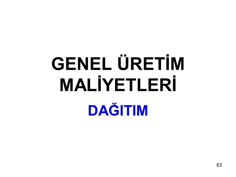 GENEL ÜRETİM MALİYETLERİ