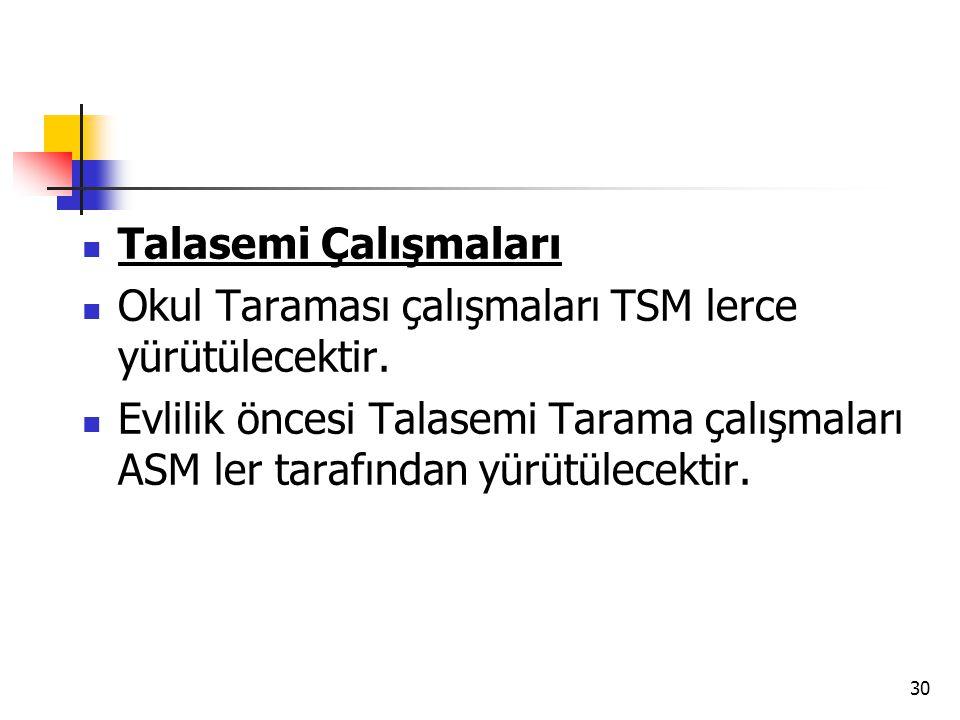 Talasemi Çalışmaları Okul Taraması çalışmaları TSM lerce yürütülecektir.