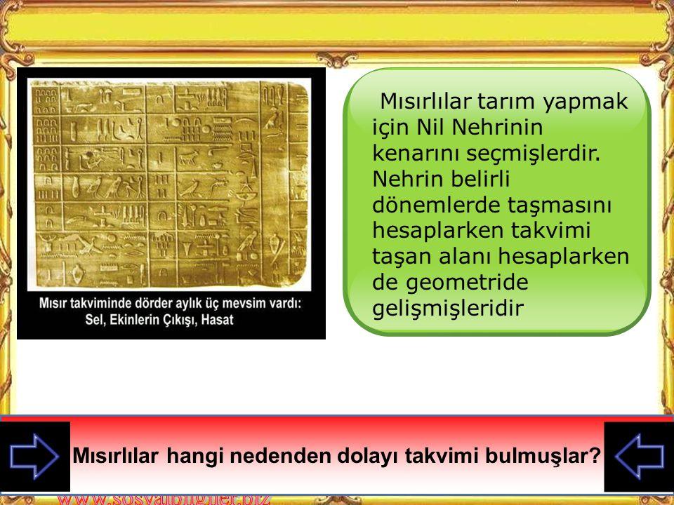 Mısırlılar hangi nedenden dolayı takvimi bulmuşlar
