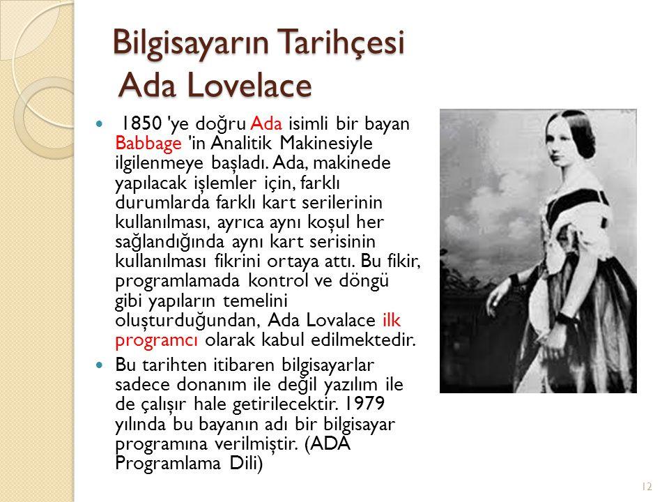 Bilgisayarın Tarihçesi Ada Lovelace