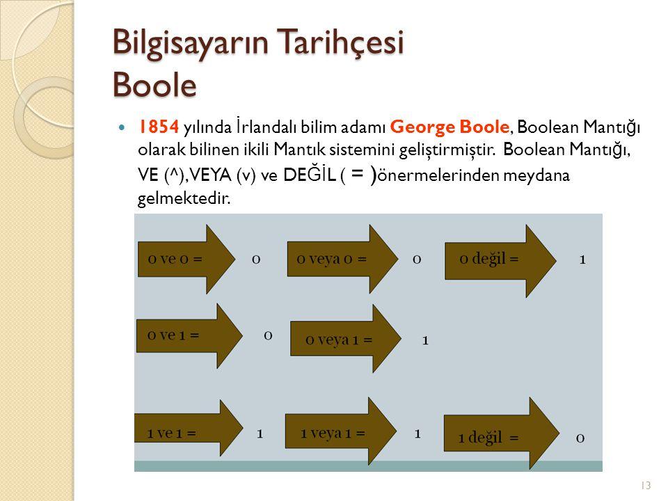 Bilgisayarın Tarihçesi Boole