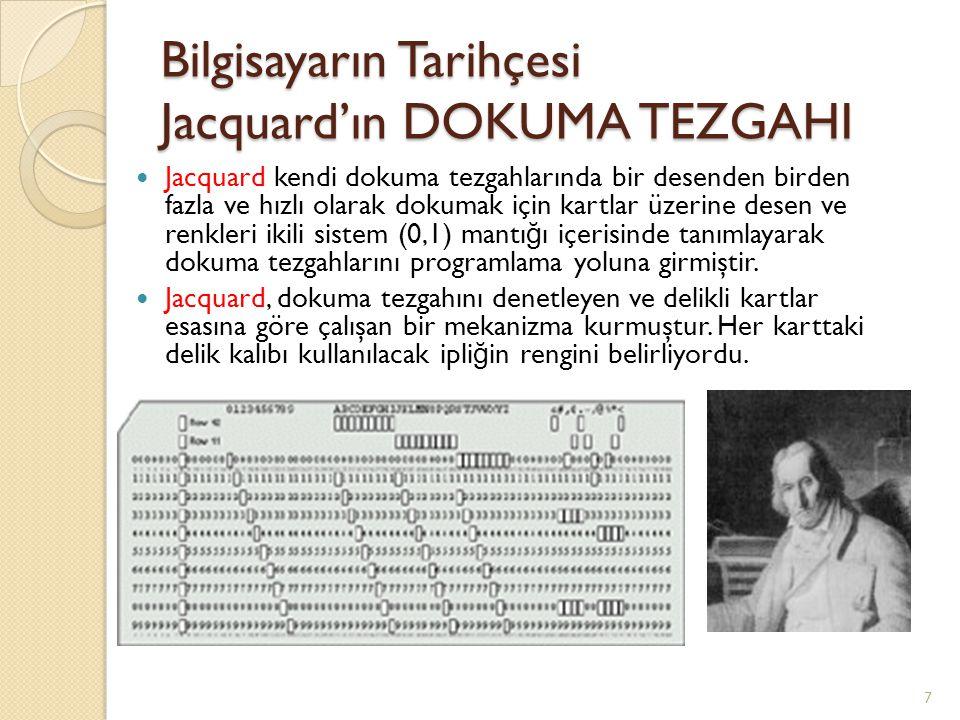 Bilgisayarın Tarihçesi Jacquard'ın DOKUMA TEZGAHI