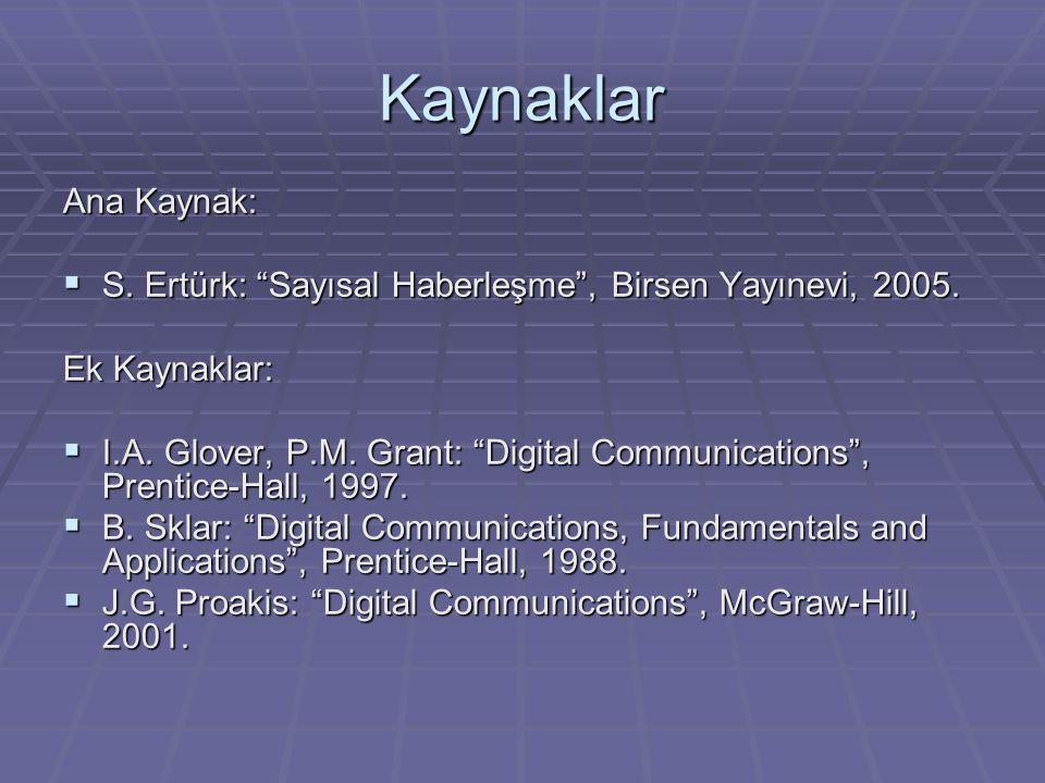 Kaynaklar Ana Kaynak: S. Ertürk: Sayısal Haberleşme , Birsen Yayınevi, 2005. Ek Kaynaklar: