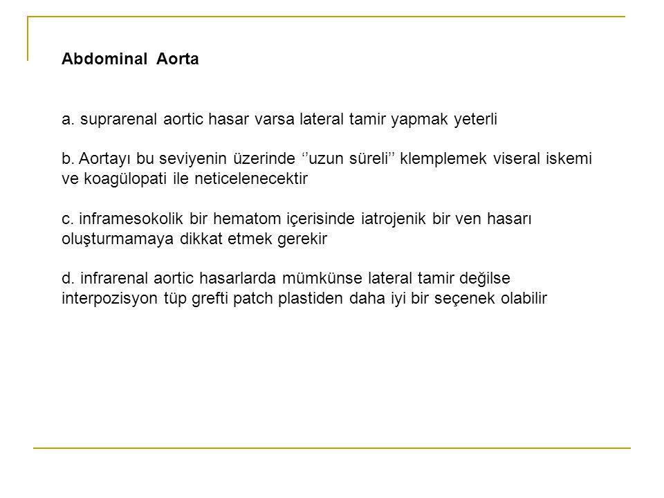 Abdominal Aorta a. suprarenal aortic hasar varsa lateral tamir yapmak yeterli.