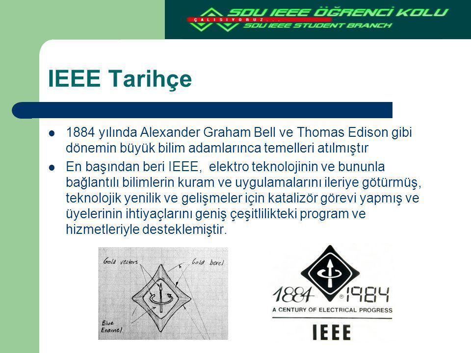 IEEE Tarihçe 1884 yılında Alexander Graham Bell ve Thomas Edison gibi dönemin büyük bilim adamlarınca temelleri atılmıştır.