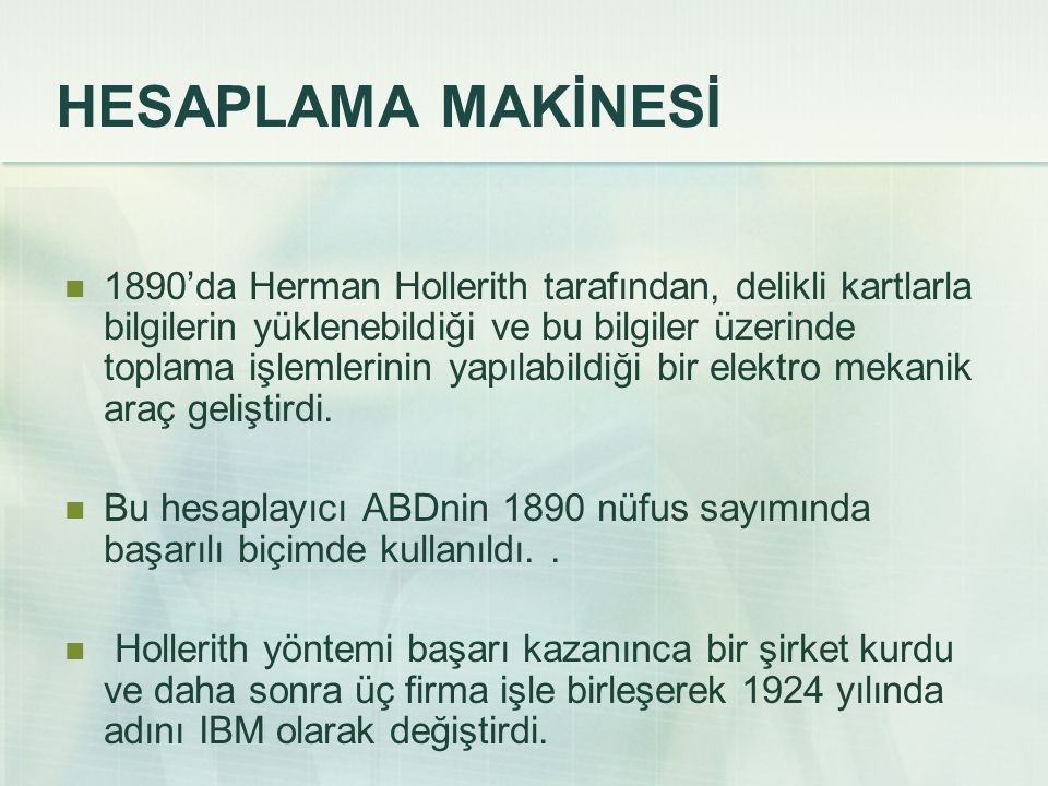 HESAPLAMA MAKİNESİ
