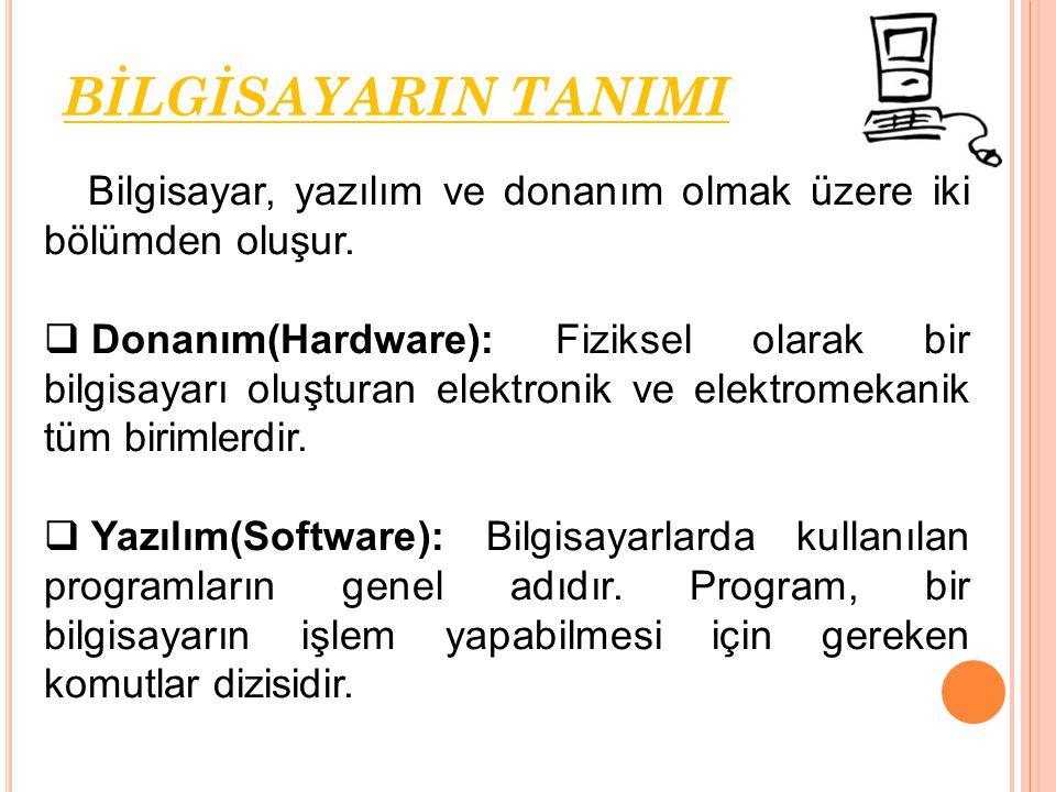 BİLGİSAYARIN TANIMI Bilgisayar, yazılım ve donanım olmak üzere iki bölümden oluşur.