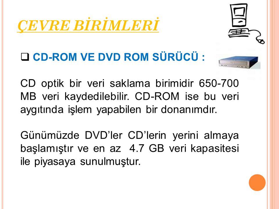 ÇEVRE BİRİMLERİ CD-ROM VE DVD ROM SÜRÜCÜ :