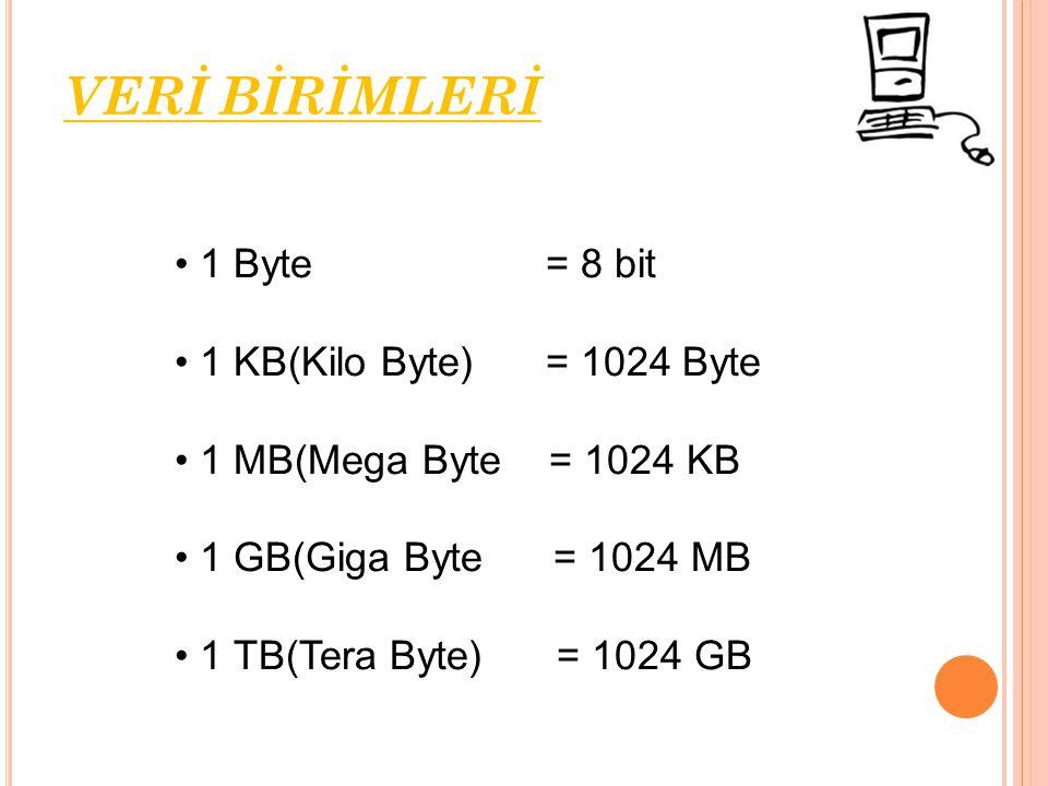 VERİ BİRİMLERİ 1 Byte = 8 bit 1 KB(Kilo Byte) = 1024 Byte