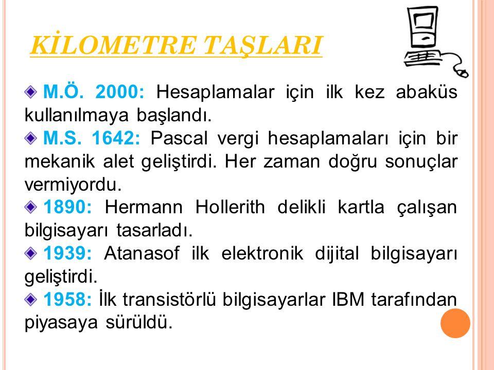 KİLOMETRE TAŞLARI M.Ö. 2000: Hesaplamalar için ilk kez abaküs kullanılmaya başlandı.