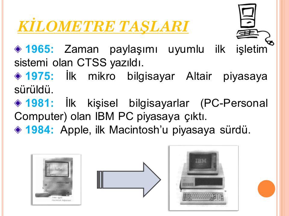 KİLOMETRE TAŞLARI 1965: Zaman paylaşımı uyumlu ilk işletim sistemi olan CTSS yazıldı. 1975: İlk mikro bilgisayar Altair piyasaya sürüldü.