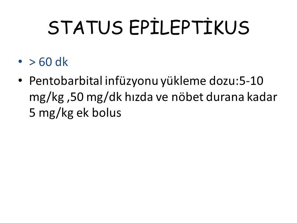 STATUS EPİLEPTİKUS > 60 dk