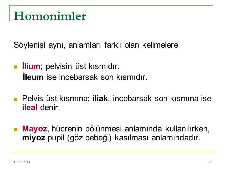 Homonimler Söylenişi aynı, anlamları farklı olan kelimelere