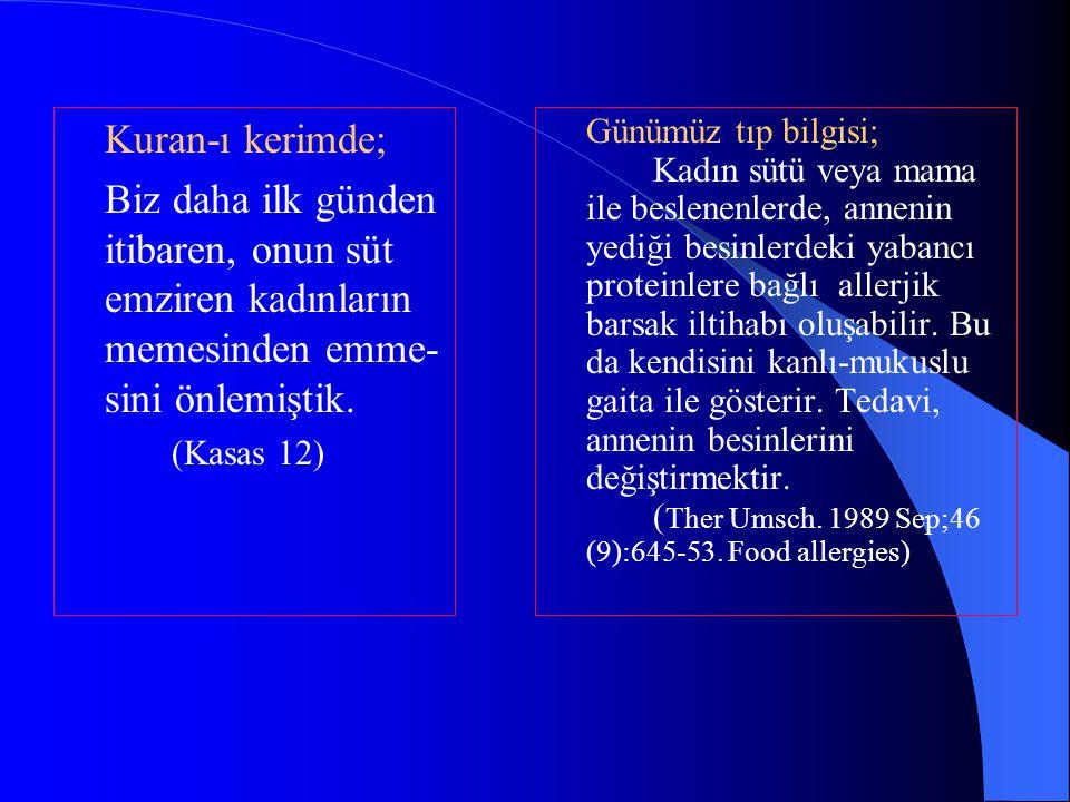 Kuran-ı kerimde; Biz daha ilk günden itibaren, onun süt emziren kadınların memesinden emme-sini önlemiştik.