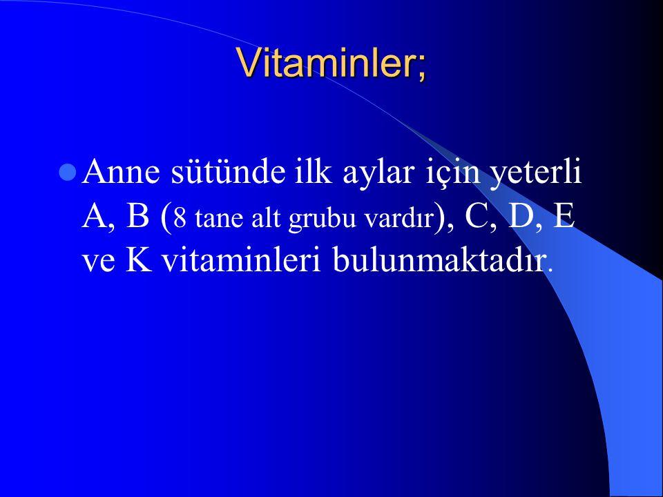 Vitaminler; Anne sütünde ilk aylar için yeterli A, B (8 tane alt grubu vardır), C, D, E ve K vitaminleri bulunmaktadır.