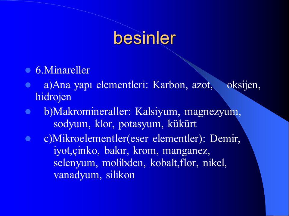 besinler 6.Minareller. a)Ana yapı elementleri: Karbon, azot, oksijen, hidrojen.