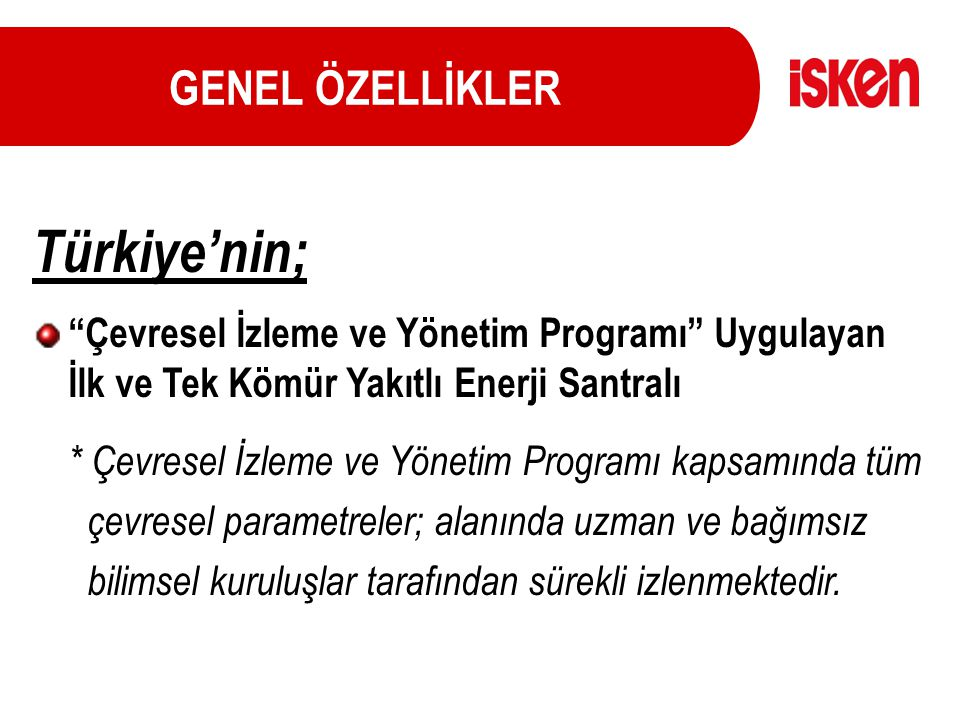Türkiye'nin; GENEL ÖZELLİKLER