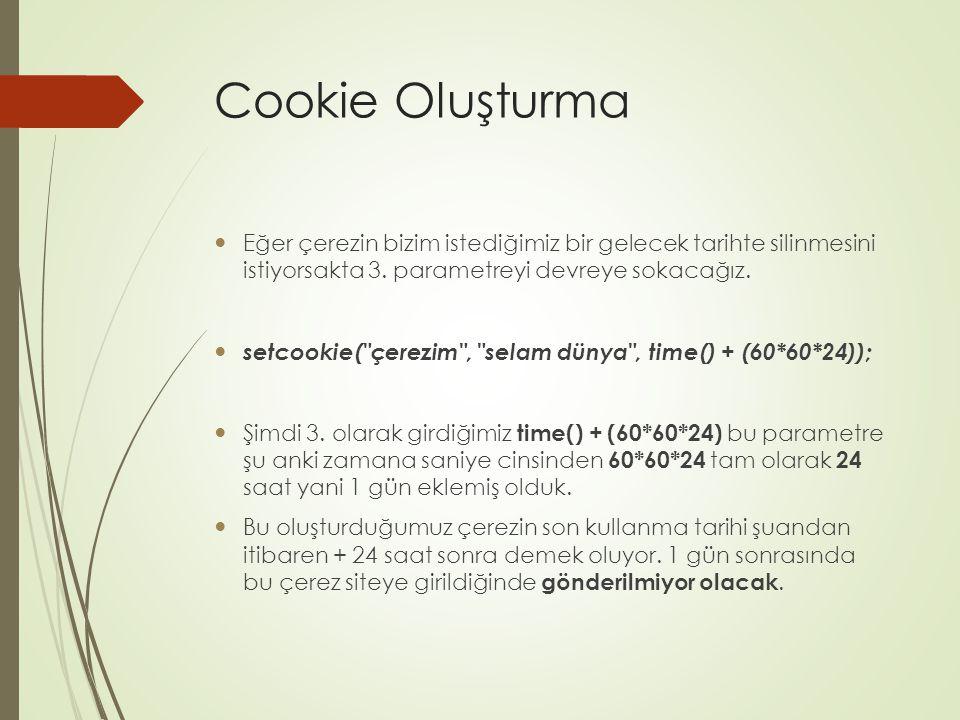 Cookie Oluşturma Eğer çerezin bizim istediğimiz bir gelecek tarihte silinmesini istiyorsakta 3. parametreyi devreye sokacağız.