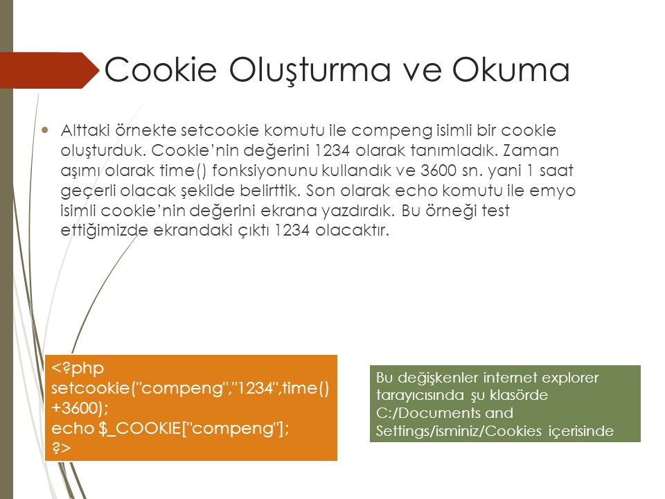 Cookie Oluşturma ve Okuma