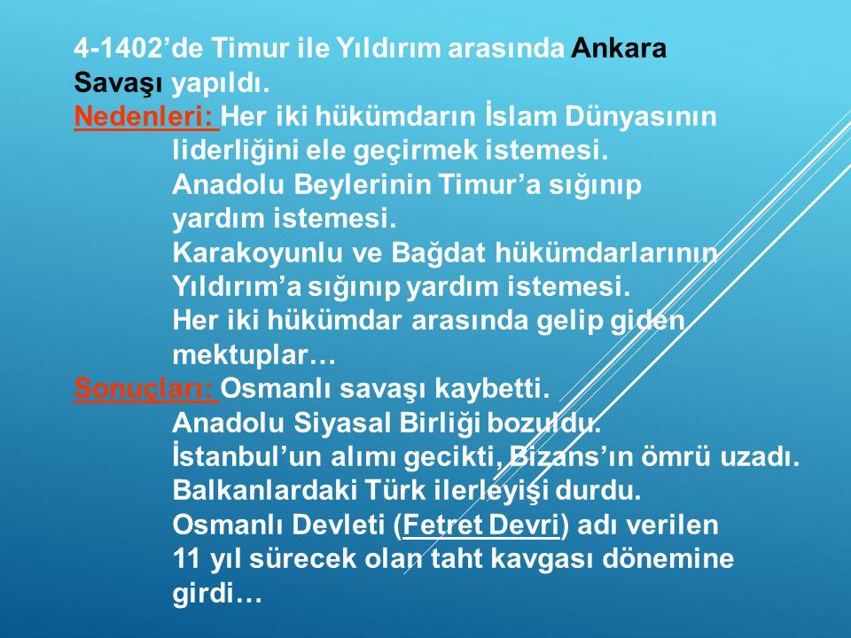 4-1402'de Timur ile Yıldırım arasında Ankara