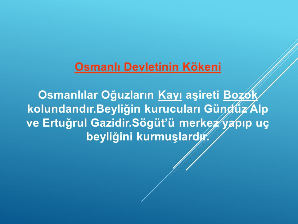 Osmanlı Devletinin Kökeni