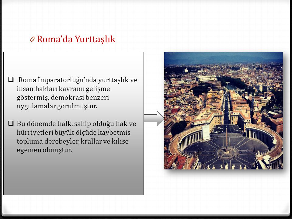 Roma'da Yurttaşlık Roma İmparatorluğu'nda yurttaşlık ve insan hakları kavramı gelişme göstermiş, demokrasi benzeri uygulamalar görülmüştür.