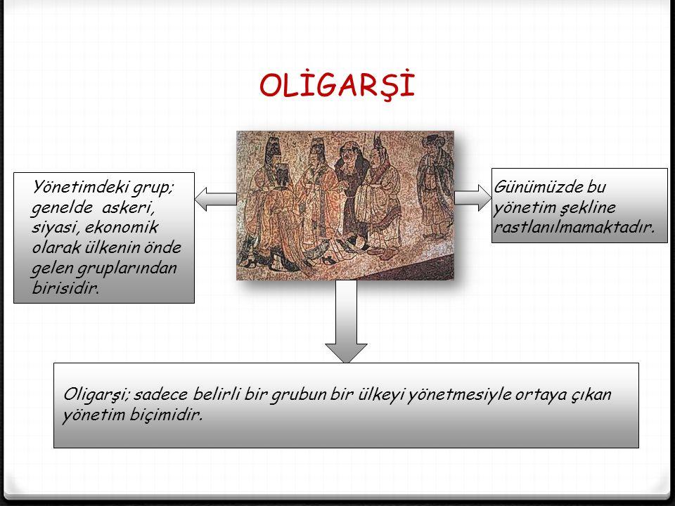 OLİGARŞİ Yönetimdeki grup; genelde askeri, siyasi, ekonomik olarak ülkenin önde gelen gruplarından birisidir.