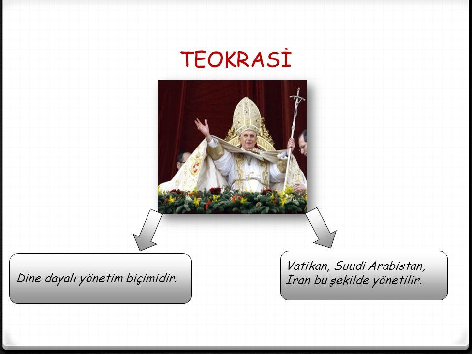 TEOKRASİ Vatikan, Suudi Arabistan, İran bu şekilde yönetilir.