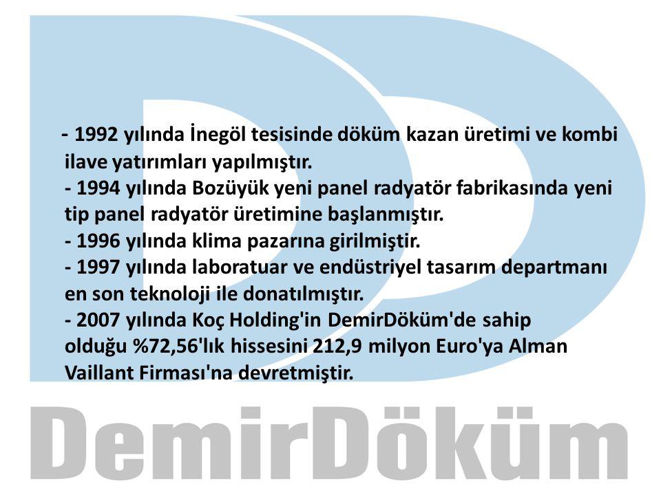 - 1992 yılında İnegöl tesisinde döküm kazan üretimi ve kombi ilave yatırımları yapılmıştır.