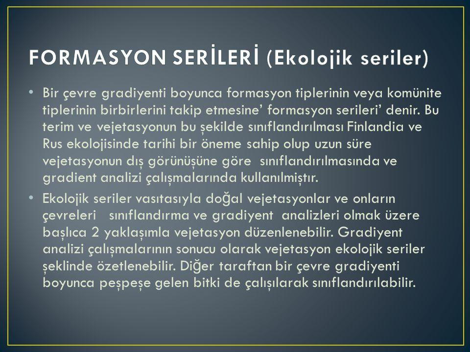 FORMASYON SERİLERİ (Ekolojik seriler)
