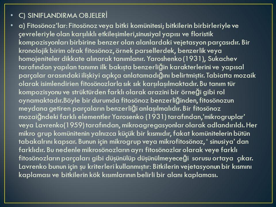 C) SINIFLANDIRMA OBJELERİ