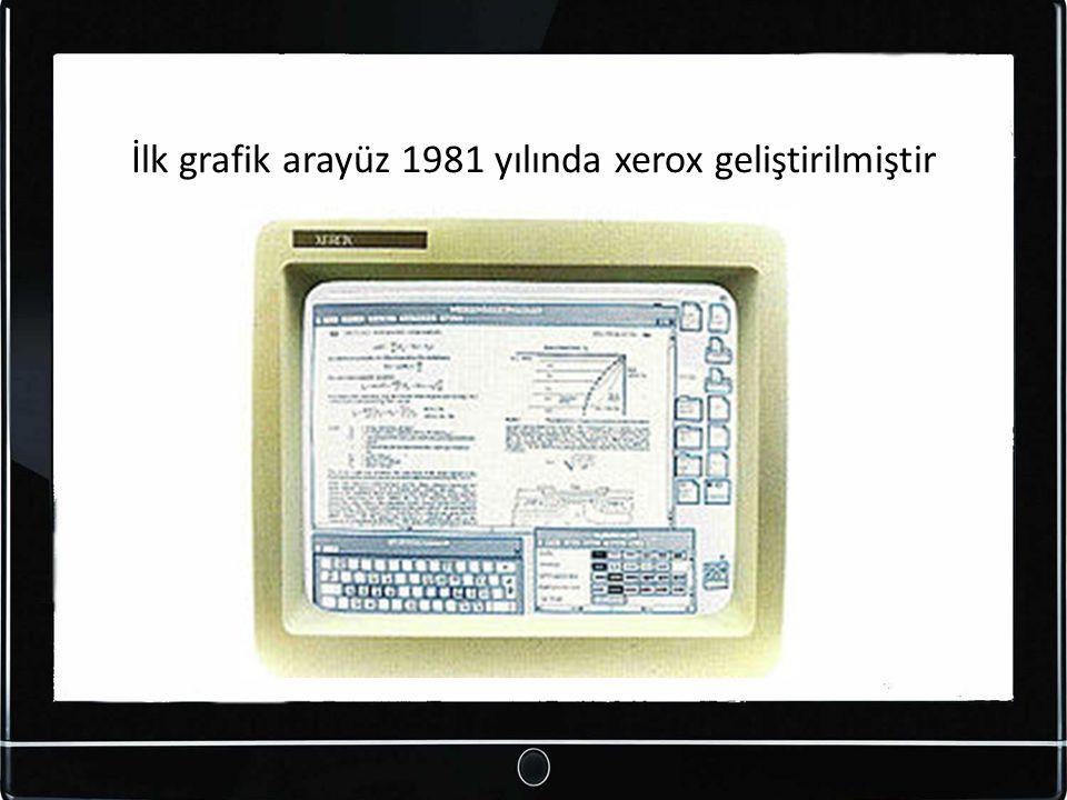İlk grafik arayüz 1981 yılında xerox geliştirilmiştir