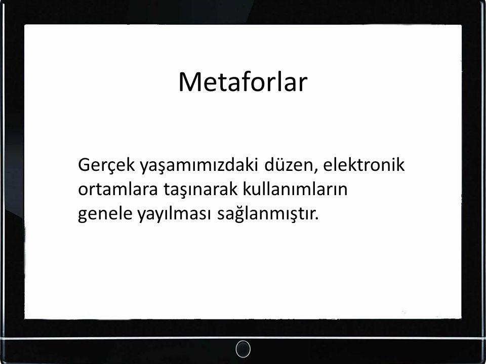 Metaforlar Gerçek yaşamımızdaki düzen, elektronik ortamlara taşınarak kullanımların genele yayılması sağlanmıştır.