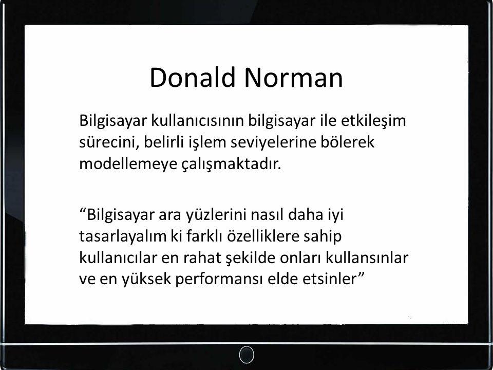 Donald Norman Bilgisayar kullanıcısının bilgisayar ile etkileşim sürecini, belirli işlem seviyelerine bölerek modellemeye çalışmaktadır.