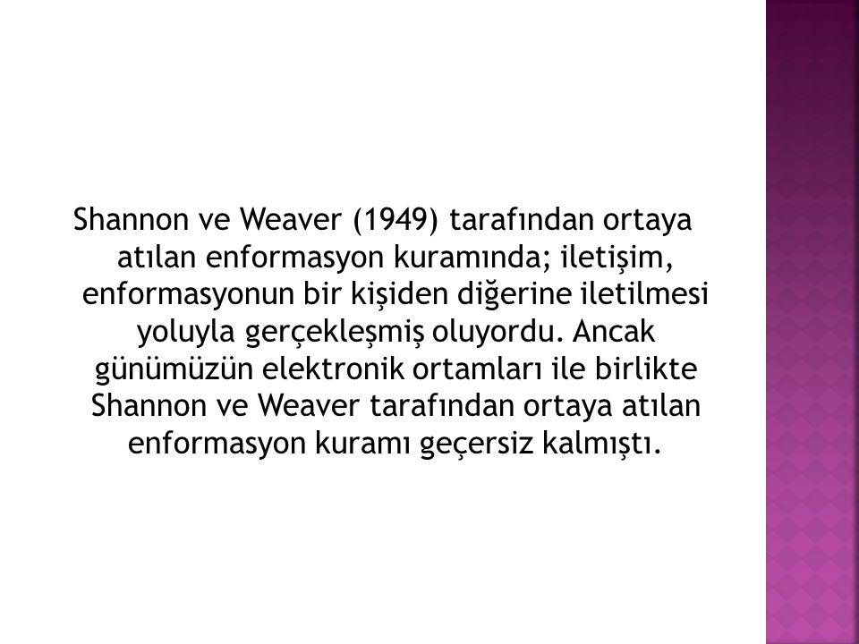 Shannon ve Weaver (1949) tarafından ortaya atılan enformasyon kuramında; iletişim, enformasyonun bir kişiden diğerine iletilmesi yoluyla gerçekleşmiş oluyordu.