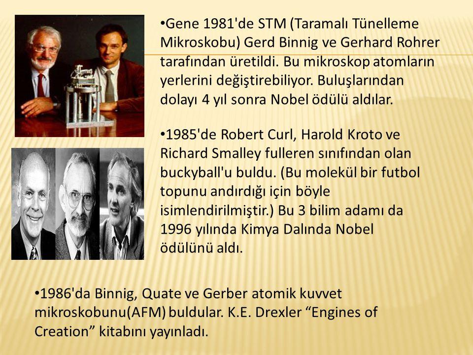 Gene 1981 de STM (Taramalı Tünelleme Mikroskobu) Gerd Binnig ve Gerhard Rohrer tarafından üretildi. Bu mikroskop atomların yerlerini değiştirebiliyor. Buluşlarından dolayı 4 yıl sonra Nobel ödülü aldılar.