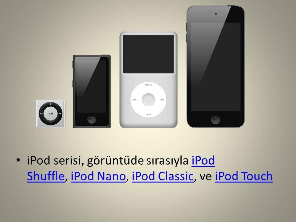 iPod serisi, görüntüde sırasıyla iPod Shuffle, iPod Nano, iPod Classic, ve iPod Touch