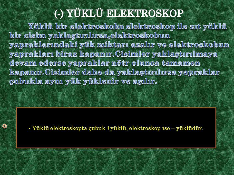 - Yüklü elektroskopta çubuk +yüklü, elektroskop ise – yüklüdür.
