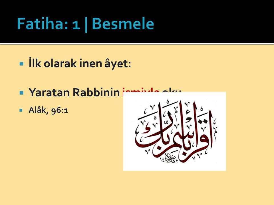 Fatiha: 1 | Besmele İlk olarak inen âyet: