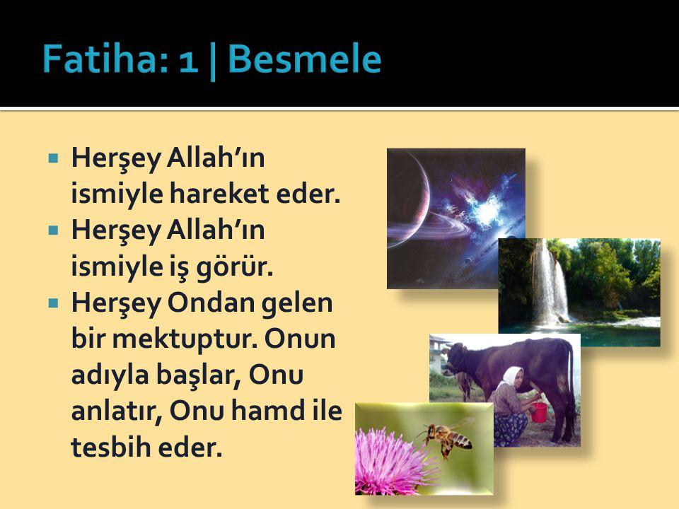 Fatiha: 1 | Besmele Herşey Allah'ın ismiyle hareket eder.