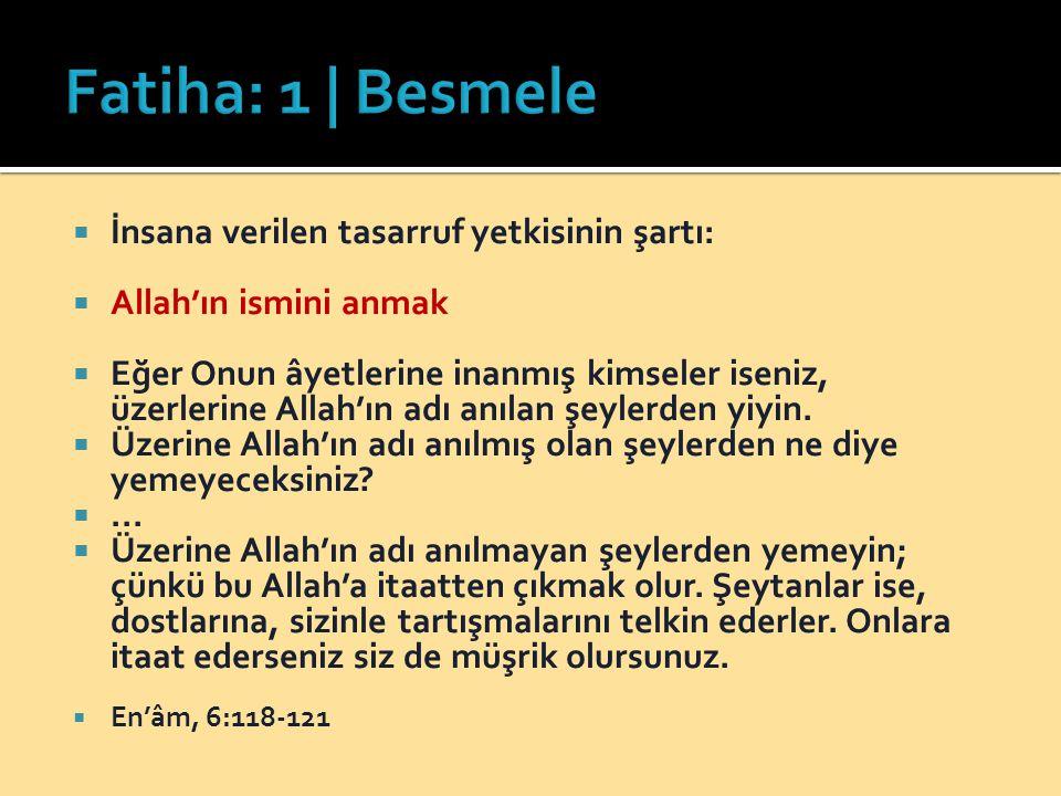 Fatiha: 1 | Besmele İnsana verilen tasarruf yetkisinin şartı: