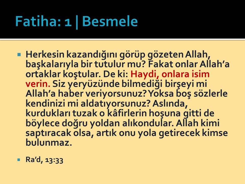 Fatiha: 1 | Besmele