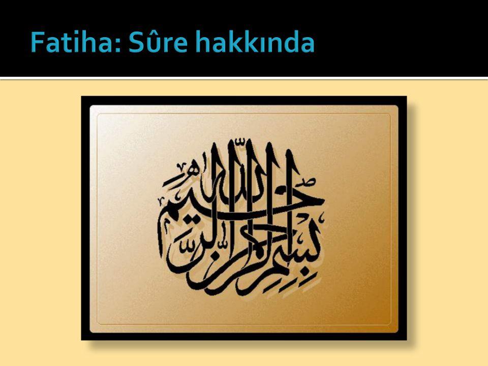 Fatiha: Sûre hakkında