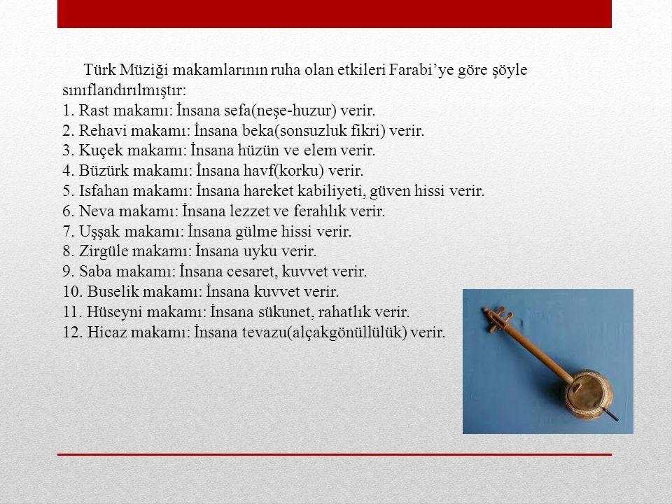 Türk Müziği makamlarının ruha olan etkileri Farabi'ye göre şöyle sınıflandırılmıştır: