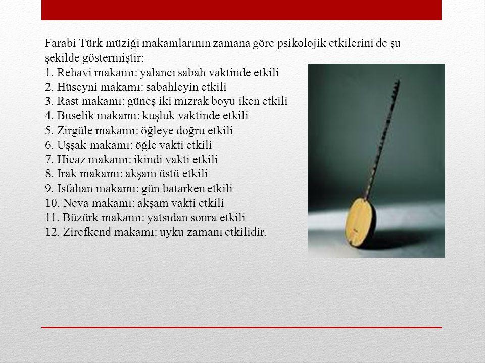 Farabi Türk müziği makamlarının zamana göre psikolojik etkilerini de şu şekilde göstermiştir: