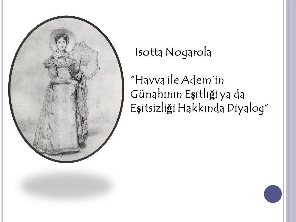 Isotta Nogarola Havva ile Adem'in Günahının Eşitliği ya da Eşitsizliği Hakkında Diyalog